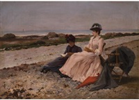 vorlesestunde am strand by edouard gelhay