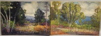 landscape with birch (+ another; 2 works) by harry spiers