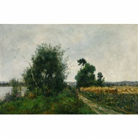 landscape walking beside the river by paul emmanuel péraire