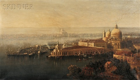 morning a birds view of venice by george loring brown