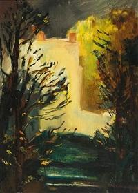 blick in den garten der villa romana mit atelier und breiter steintreppe by otto niemeyer-holstein