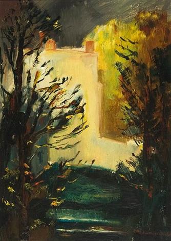 blick in den garten der villa romana mit atelier und breiter steintreppe by otto niemeyer holstein
