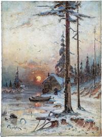 winterliche waldlandschaft im abendrot by yuliy yulevich (julius) klever