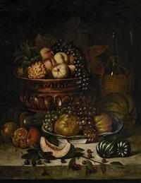 früchtestillleben mit trauben, kürbissen, granatäpfeln und pfirsichen by josef kaspar correggio
