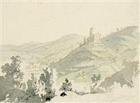 ansicht der burg windeck mit weinheim im hintergrund (+ kleines dorf mit kirche, pencil, verso) by carl philipp fohr