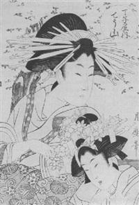halbporträt der kurtisane chôzan aus dem grünen haus von chôjiya mit ihrer kamuro unter blühendem kirschbaum by tsukimaro