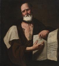 aristotle, half-length, holding a book by luca giordano