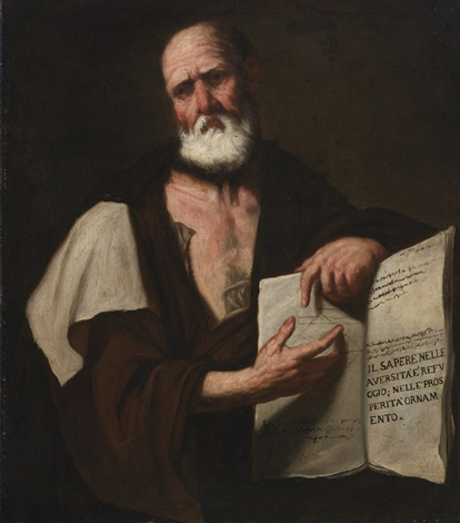 aristotle half length holding a book by luca giordano