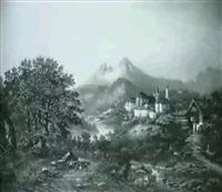 berchtesgaden mit blick auf den watzmann im alpengluhen by johann august