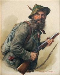 wilderer halbfigur eines bärtigen mannes mit hut, rucksack und gewehr by peter krämer