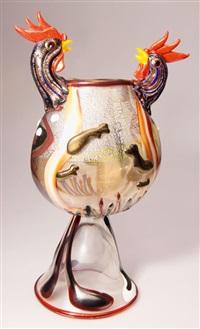 vase combattimento di galli by ermanno nason