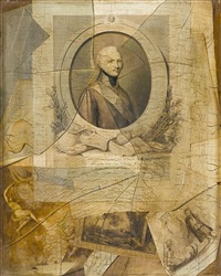 trompe l'oeil with a print of tsar alexander i of russia, together with other prints and drawings behind a broken pane of glass by laurent dabos