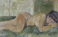 nudo disteso (fronte); ritratto di ragazza (retro) by enzo faraoni