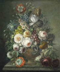 cabbage roses, tulips, narcissus, auricula, larkspur and other flowers in a sculpted urn on a stone ledge by gérard van spaendonck