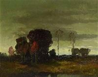 abendliche landschaft mit baumgruppe by carl oskar arends