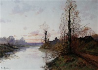 sunset river scene by r. michel