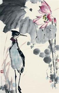 荷花仙鹤图 by dai lin