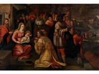 die heiligen drei könige in anbetung des kindes by kaspar (jasper) van den hoecke