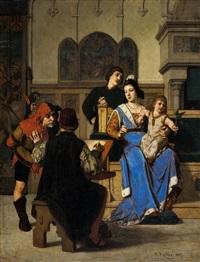 le peintre et la noble dame by wilhelm (guillaume) koller