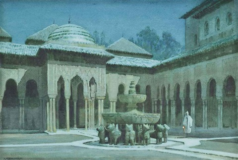 the court of the lions, the alhambra, granada by a. moulton foweraker