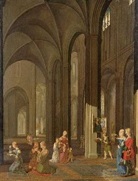 gotisches kircheninterieur mit romantisierender figurenstaffage by franz pforr