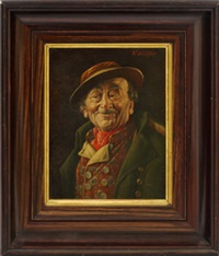 portrait of an old man, quarter-length in a green coat; portrait of an old man quarter-length in a brown coat (2 works) by franz xavier wölfle
