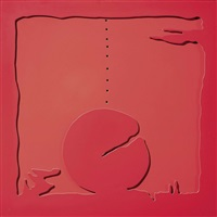 concetto spaziale - teatrino (rosso) by lucio fontana
