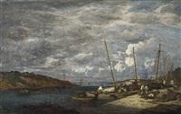 douarnenez. bateaux de pêche à quai by eugène boudin