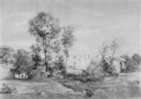 blick auf die ruinen der caracalla-thermen in der römischen campagna by august (friedrich a.) reinhardt