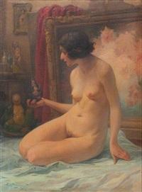 jeune femme nue à la poupée, portrait présumé de louise-joséphine malbrancke by henri privat-livemont