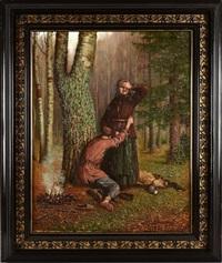 jeune évadé retrouvant sa mère en forêt by johann köler