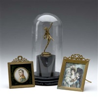 baccante sculpture (+ two miniature portraits; 3 works) by alfred david lenz