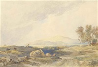 a highland landscape with a herdsman and cattle by copley fielding