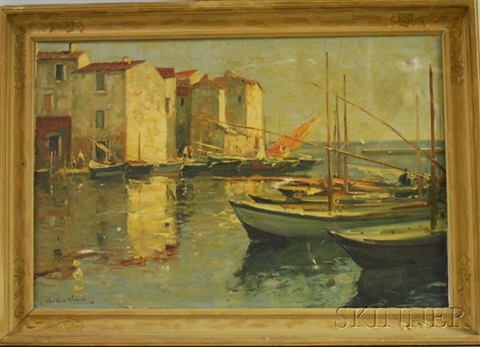 pier with moored boats and buildings by paul emile lecomte