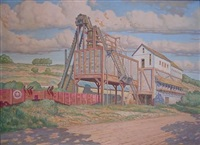 landscape depicting mine scene with rail cars by g. d'aquili