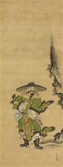 tatarischer bogenschütze mit köcher und bogentasche, dabei einen pfeil in den bogen zu setzten, an einem felsabhang by kano josen