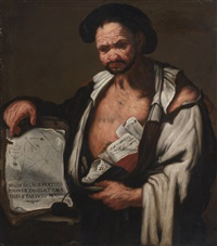democratus, half-length, holding papers and a book by luca giordano