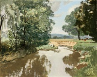 the western run and maryland landscape (2 works) by nigel ramsay newton