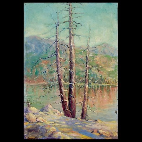 landscape of tree and lake by benjamin george vaganoff