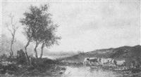 landschaft mit kühen an einem weiher by max reichele