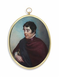 lord edward fitzgerald (1763-1798), in red cloak with dark blue draped sash; sky background by horace hone