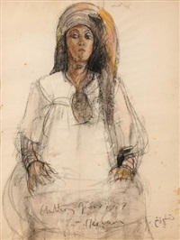 miriam, a three-quarter length study of a moroccan woman by anthony gross