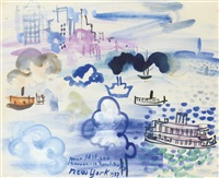 le port de new york by raoul dufy