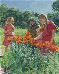 picking flowers by nikolai petrovich bogdanov-bel'sky