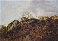 a rocky outcrop with shepherds by jean-françois legillon