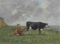 vaches au bord de la mer by eugène boudin