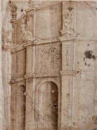 architecture à pans octogonaux à trois niveaux avec niche au niveau inférieur (design) (+ têtes (study), verso) by antonio da sangallo the younger