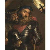 a gentleman wearing armour and a red sash with a moor and a guard by johann ulrich mayr