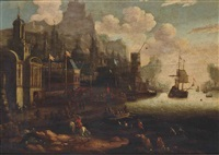 a capriccio of a mediterranean harbour with moored galleons and figures by jacobus storck