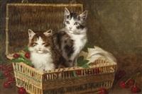 kittens in a basket of cherries by jules leroy